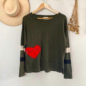 Lisa Todd Green Cashmere Cotton Heart Sweater